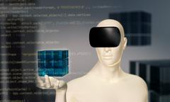 Man using virtual reality oculus headset in virtual 3D space - stock illustration