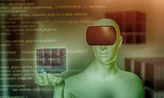 Man using virtual reality headset holding 3D object in hand Stock Illustration