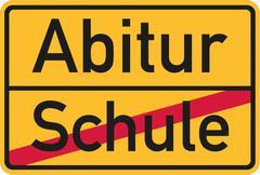 School finished - Abitur village name sign - stock illustration