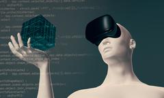Man using virtual reality oculus headset in virtual 3D space Stock Illustration