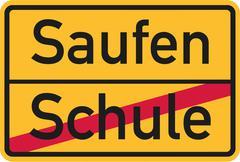 Graduate school and start drinking - german - stock illustration