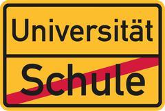 Start studying after finish school - german Stock Illustration