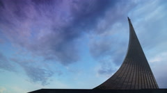 The monument to the conquerors of space Timelapse Stock Footage