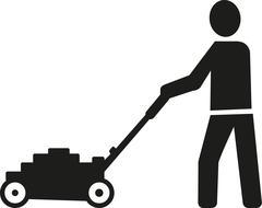 Lawn mower man pictogram Stock Illustration