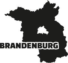 Brandenburg map with title Stock Illustration