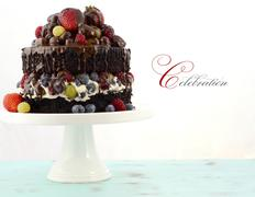 Deliciously divine chocolate cake with berries and cream. - stock photo
