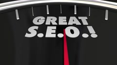 Great SEO Search Engine Optimization Speedometer Words 3d Illustration Stock Footage