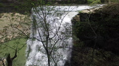 Birds Eye View Descending Through Trees Passed Epic Waterfall Stock Footage