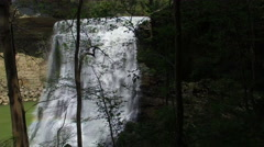 Fly Through Close Forest Towards Epic Waterfall Stock Footage