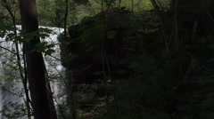 Flying Sideways Through Trees Past Epic Waterfall 001 Stock Footage