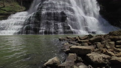 Rising From Base of Epic Waterfall to High Above 002 Stock Footage