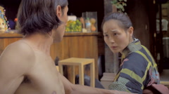 Expressive Japanese woman showing concern and confusion in dance - stock footage