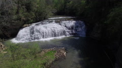 Flying Towards Large Cascading Waterfall 002 Stock Footage