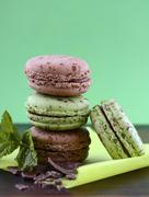 Chocolate and mint flavor macarons - stock photo