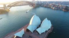 Sydney Australia Flying Away From Opera House Stock Footage