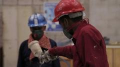 Painter Man Paint Pipeline Stock Footage