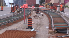 Kitchener light rail LRT rapid public transit line construction Stock Footage