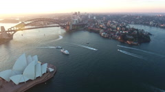 Sydney Australia Flying Over Bay and Boats Towards Opera House and Bridge 005 Stock Footage