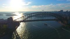 Sydney Australia Flying Over Bay Sydney Harbor Bridge Stock Footage