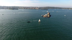 Sydney Australia Flying Over Water and Castle Island With Boats 001 Stock Footage