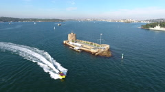 Sydney Australia Flying Over Water and Castle Island With Boats 002 Stock Footage