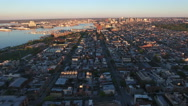 Flying Toward Downtown Baltimore At Sunrise - stock footage