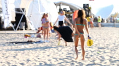 People play beach games Stock Footage