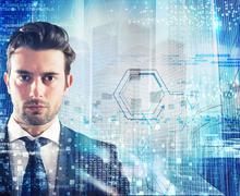 Futuristic business vision - stock photo