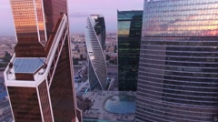 Movie style footage of business center. Modern architecture. Moscow city Russia  Stock Footage