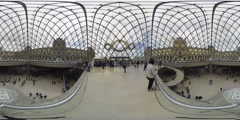 Inside the Louvre Pyramid world 360 video panorama Stock Footage