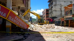 Earthquake aftermath, excavator working on collapsed buildings ruins Stock Footage