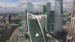 Movie style footage of Russian skyscrapers. Moscow city from above. Aerial drone Stock Footage