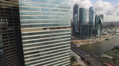 Business center. Modern architecture buildings. Moscow city aerial Stock Footage