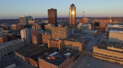 Des Moines Downtown Skyscrapers Sunrise 002 Fly Over Stock Footage