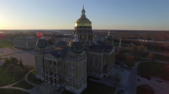 Des Moines State Capitol Early Morning 006 Orbit CC Stock Footage