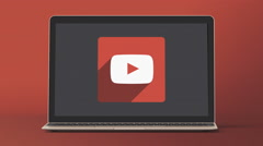 4k - Laptop with youtube icon symbol - stock footage