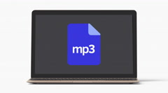 4k - Laptop with MP3 file icon extension Stock Footage