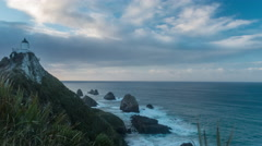Colorful Sunrise timelapse at Nugget Point Lighthouse, New Zealand. Stock Footage
