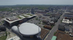 Flying Towards Nashville Convention Center Stock Footage