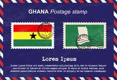 Ghana postage stamp, postage stamp, vintage stamp, air mail envelope. Stock Illustration