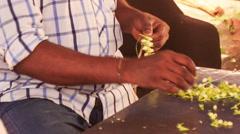 Indian Man Hands Compose Jasmine Flower Garland - stock footage