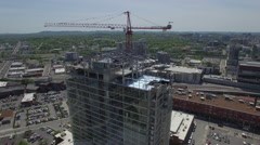 Orbiting Tower Crane On Sunny Day - stock footage