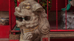 Lion Head and Dragon at Indian Temple Entrance Stock Footage