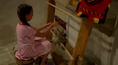 Little girl running on loom Stock Footage
