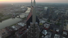 Orbiting Nashville Skyscrapers and Skyline at Sunrise 001 Stock Footage