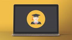 4k - Laptop with graduate man symbol Stock Footage