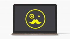 4k - Laptop with fancy emoji symbol Stock Footage