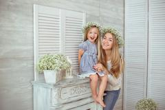 A happy mother and her daughter are excited Stock Photos