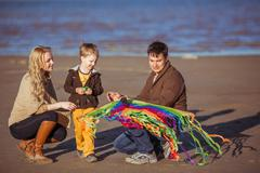 The family is going to fly a kite Stock Photos