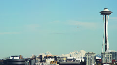 Seattle Space Needle with Cascade Mountains. Stock Footage